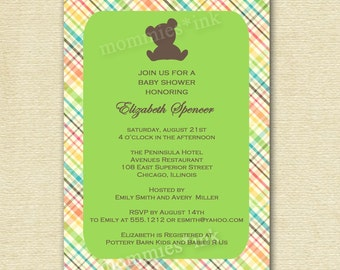 Mod Rainbow Plaid Teddy Bear Baby Shower Invitation - Customizable - PRINTABLE INVITATION DESIGN