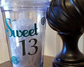 Sweet 13 Tumbler, Birthday Girl, Teenager, 13th Birthday,
