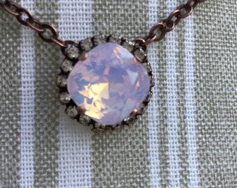 Antique Copper Pendant Swarovski Rose Water Opal