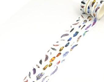 3 rolls Colorful Feather washi tape-15mmX5M