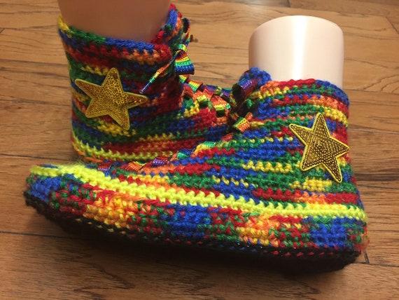 converse high slippers crochet Crocheted converse Size top converse 7 sneaker 9 top slippers converse 236 high shoe rainbow tennis slippers 655xq8F