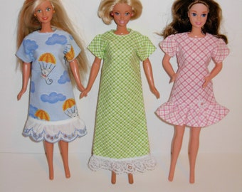 Barbie clothes. 3 Cute nightgowns for barbie doll