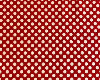 Red with white dots fabric for apparel and quilting; 100% cotton