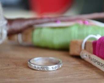 Personalised silver ring sterling silver hand stamped ring