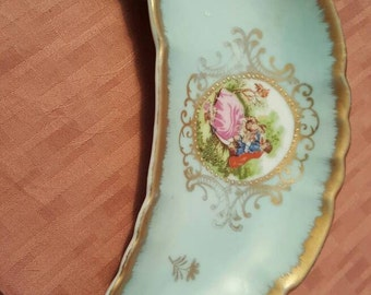 LEFTON China Bone Plate in Beautiful in Aqua Floral and Gold Trim, numbered 4249!