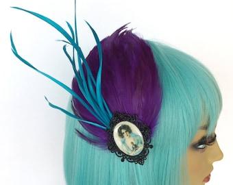Purple Feather Fascinator, Feather Hair Clip, Art Deco, Jazz Age, Teal Fascinator, 1920s Fascinator