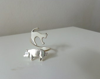 Silver piggy cat ring, statement ring, animal ring