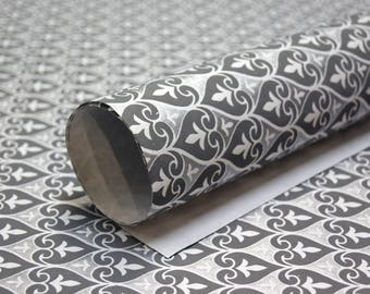 Geometric print handmade Wrapping Paper gift wrap set of two large sheets grey silver