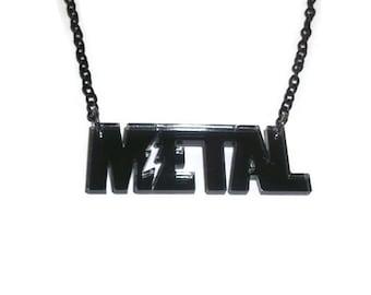 Metal Necklace, Metalhead, Music, Grunge, Goth, Laser Cut Grey Mirrored Pendant, Perspex