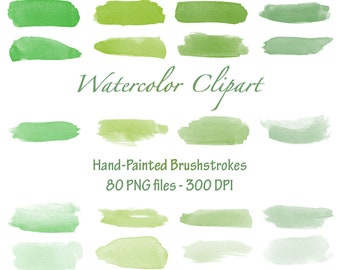 Watercolor Hand-Painted Brushstrokes ( Greens ) - Watercolor Clipart - Brushstroke Clip art