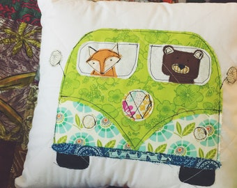 Quilted VW Bus Pillow with Animals