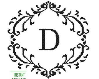 Instant Download Cross Stitch Pattern Monogram black Monogram Initial Alphabet D letter D Gift Home Decor House Warming Wedding Anniversary