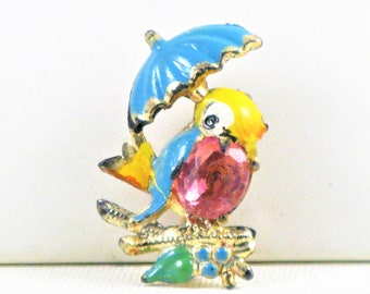 Antique Vintage Collectible Painted Celluloid Jelly Belly Bird With Umbrella Brooch Pin (B-2-2)