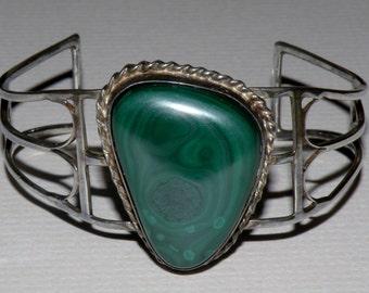 Malachite and Sterling Silver Cuff Bracelet