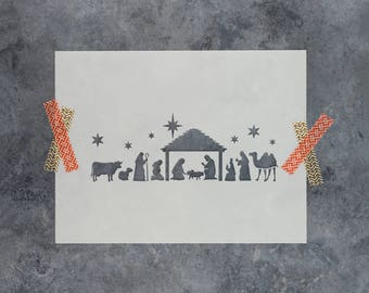Nativity Stencil - Reusable DIY Craft Christmas Stencils of a Nativity Scene