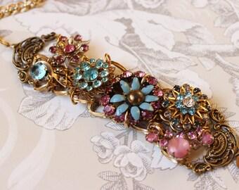 A Full Life- Vintage Collage Bracelet- Aqua Blue and Pink Rhinestone and Enamel, Antique Gold