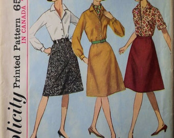 1960s flared skirt and blouse Simplicity 5610 vintage sewing pattern Bust 37 Waist 31 Hip 41 Mad Men era Preppy Mod style