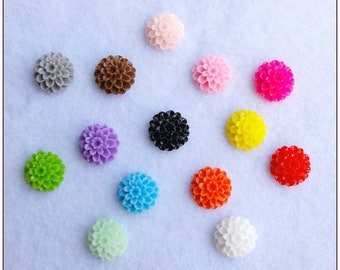 Cabochon multicolored flower x 1