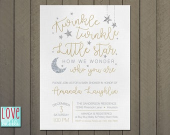 Twinkle Twinkle Little Star Baby Shower, White Gold, Silver, Stars Moon -  PRINTABLE DIGITAL FILE 5x7