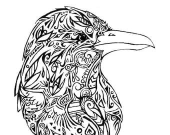 Downloadable Tribal Raven Print