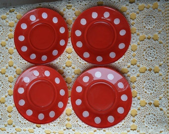 Vintage Snack Plates - Red with White Polka Dots -Set of 4