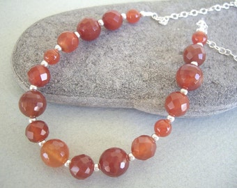 Carnelian Beaded and Sterling Silver Necklace