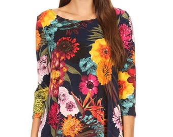 Woman's Plus Missy Tropical Hawaiian Multi color Floral print Tunic Fashion Top in a loose fit 3/4 length sleeves S to 2X