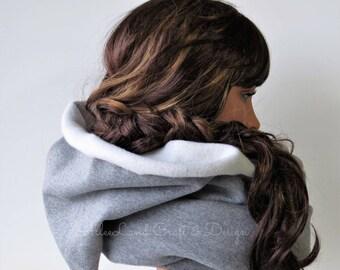 Cowl Infinity Scarf With Hood, Cozy Brushed Sweatshirt Fleece, SPRING SALE 40% OFF