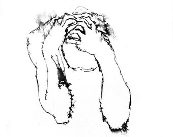 Art Drawing Handmade Pen and Ink of  Agony Angst Despair Pain PRINT