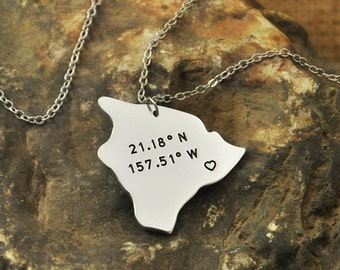 Hawaii necklace Latitude Longitude Necklace Coordinate  925 sterling silver  necklace state necklace map necklace state charm