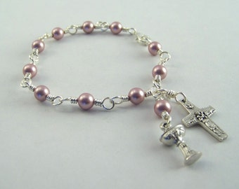 Swarovski Pearl Holy Communion Bracelet Your Choice of Color