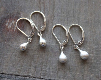 Silver Teardrop Earrings, Sterling Silver Tear Drop Earring, Brushed Silver Earrings, Lightweight Dangle Drop on Leverback Lever back