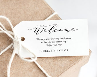 Editable Template - Instant Download Soft Calligraphy Wedding Welcome Gift Tags
