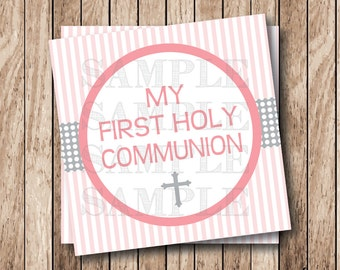 Instant Download . Printable First Holy Communion Tags, Girl Printable First Communion Tags, Printable Communion Tags, Girl Communion Labels