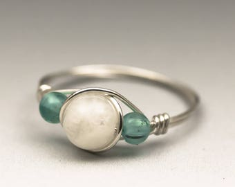 White Moonstone & Neon Apatite Gemstone Sterling Silver Wire Wrapped Ring - Made to Order, Ships Fast!