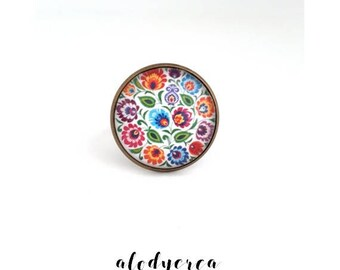 ring cabochon polka, 18 mm glass cabochon Adjustable ring, spring, bronze, floral ring, gift idea, alodycrea