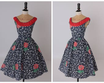 Vintage original 1950s 50s vibrant novelty floral print cotton dress UK 8 10 US 4 6 S