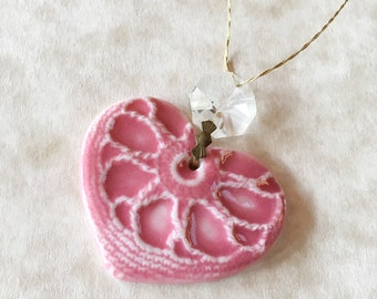 Pink Heart Porcelain Ornament with Vintage Chandelier Crystal-Valentine's Day Ornament-Gift for Valentine-Handcrafted Porcelain Heart