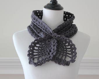 Crocheted Charcoal Gray Scarf, Scarflette