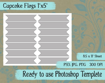 Scrapbook Digital Collage Photoshop Template, Cupcake Toppers, Flags