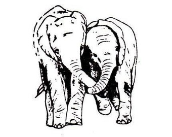 sm. ELEPHANT FRIENDS unmounted rubber stamp Africa animal, wildlife African Safari, Sweet Grass Stamps No.17