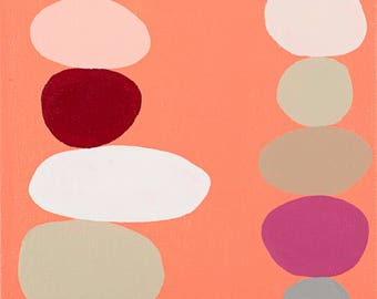 Pink Stacked Dots painting