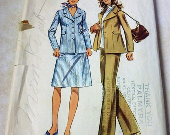 1971 Simplicty Sewing Pattern Jacket Skirt Pants Size 14