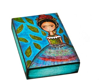 Frida y su Lluvia de Hojas - Aceo Giclee print mounted on Wood (2.5 x 3.5 inches) Folk Art  by FLOR LARIOS
