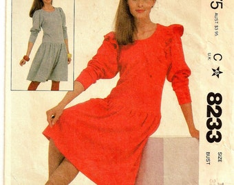 "A Low/Drop-Waist, Long Sleeve, Flair Skirt Pullover Dress Fashion Sewing Pattern for Women: Size 10, Bust 32-1/2"" • McCall's 8233"