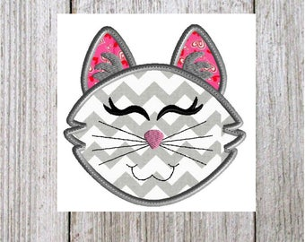 Cat embroidery design, 2 styles 5 sizes each style, cat applique, machine embroidery, animal embroidery pet design