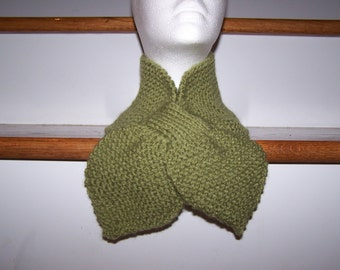 Knitted Lotus Leaf Scarf Stays Put-Amazing Look to keep you Warm in terrific colors-Dusty Green