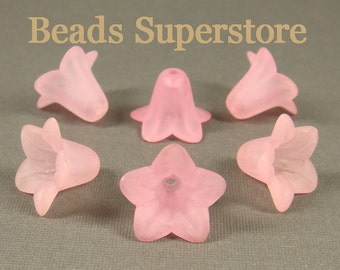 FINAL SALE 18 mm x 12 mm Pink Lucite Flower Bead - 10 pcs