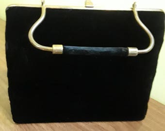 1950s Bobbie Jerome Black Velvet Brass Handle Handbag Bobbie Jerome Velvet Evening Bag Brass Handle
