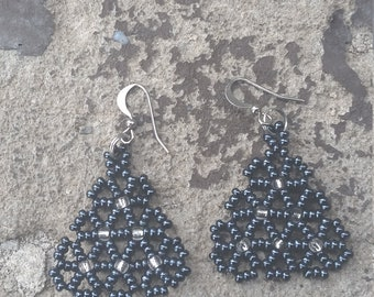 triangle seed bead earrings